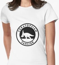 Ceratopsian Fancier Tee (Black on Light) Women's Fitted T-Shirt