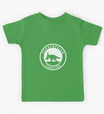 Ceratopsian Fancier Tee (White on Dark) Kids Tee