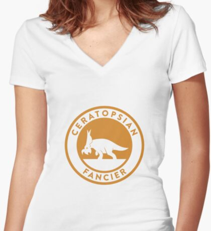 Ceratopsian Fancier Tee (Mustard on White) Women's Fitted V-Neck T-Shirt