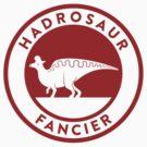 Hadrosaur Fancier (Red on White) by David Orr
