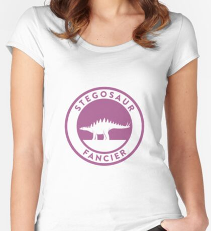 Stegosaur Fancier (Violet on White) Women's Fitted Scoop T-Shirt