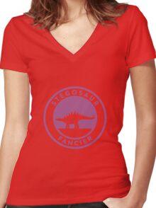Stegosaur Fancier (Violet on White) Women's Fitted V-Neck T-Shirt