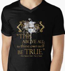 """Shakespeare Hamlet """"eigenes Selbst sei wahr"""" Zitat T-Shirt mit V-Ausschnitt"""