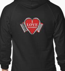 I Love Accordions Heart Motif! Zipped Hoodie