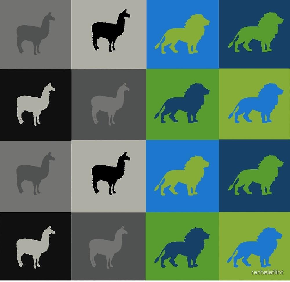 Dan and Phil - Llama and Lion - Their duvet pattern's by rachelaflint