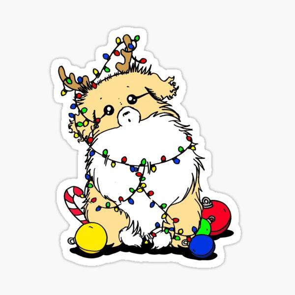 Cute Beautiful and Funny Light Sable Tibetan Spaniel Christmas Lights Design Sticker