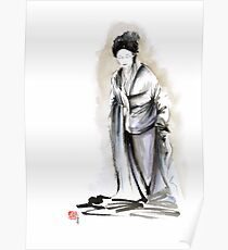 Geisha classical figure woman kimono wearing old style painting Poster