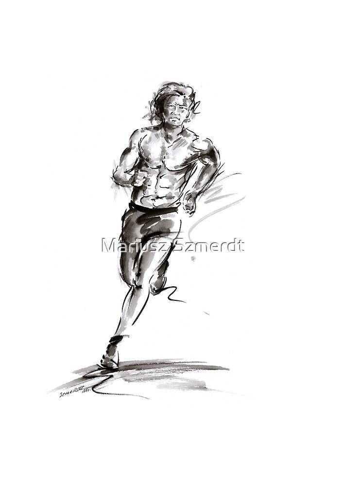 Run lovers running man painting sport athletic olimpic iron man thriatlon by Mariusz Szmerdt