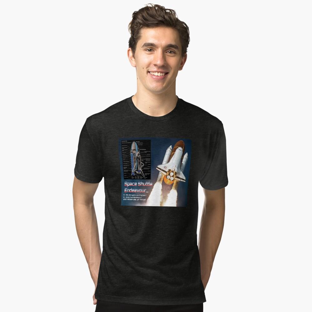 Space Shuttle Endeavour Stats Tri-blend T-Shirt