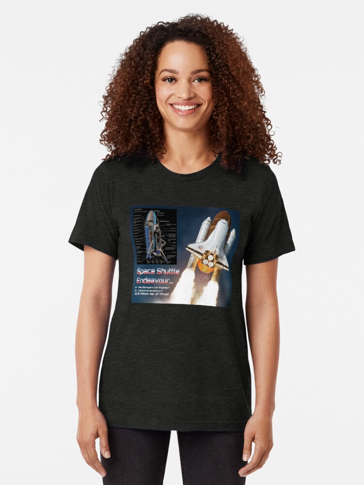 Alternate view of Space Shuttle Endeavour Stats Tri-blend T-Shirt