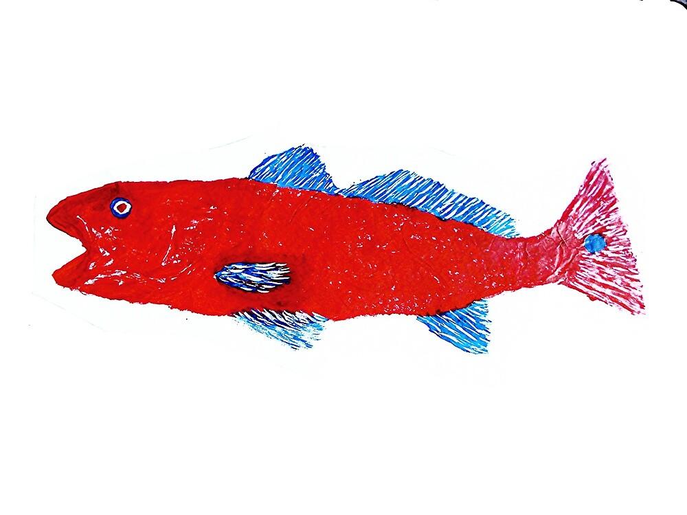 Gyotaku fish rubbing, Florida Redfish, Oddball Folk style by alan barbour