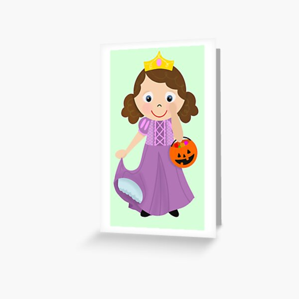 Prinzessin Süßes oder Saures Design Medium Skin Brown Hair Grußkarte