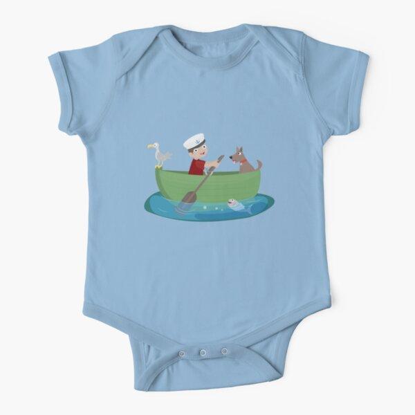 Cute boy sailor and dog rowing boat cartoon Short Sleeve Baby One-Piece