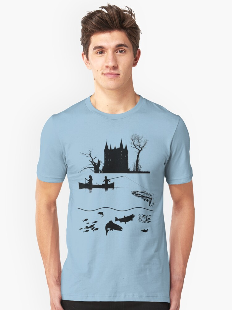 Tee: Canoe Fishing in the Ardennes Unisex T-Shirt Front