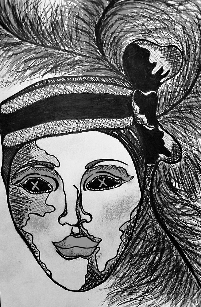 Masquerade Woman Black and White by Amber Batten
