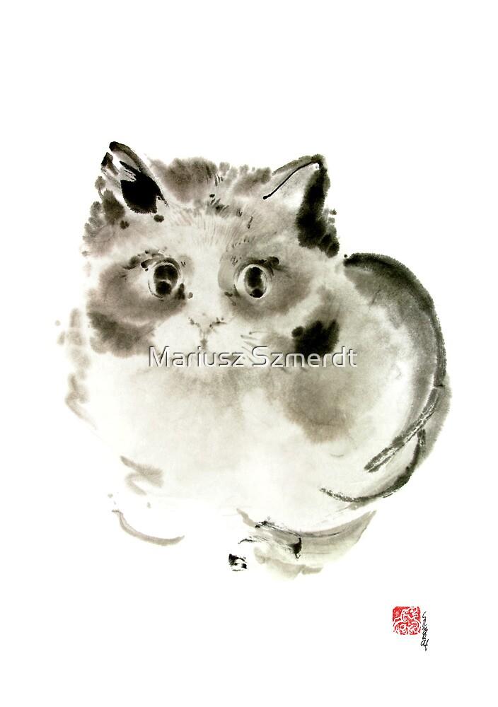 Cat Cats Kitten Funny Meow animal pet ink painting by Mariusz Szmerdt