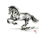 Horse stallion black wild animal 2014 year ink painting by Mariusz Szmerdt