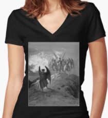 Satan cast out of Heaven Women's Fitted V-Neck T-Shirt