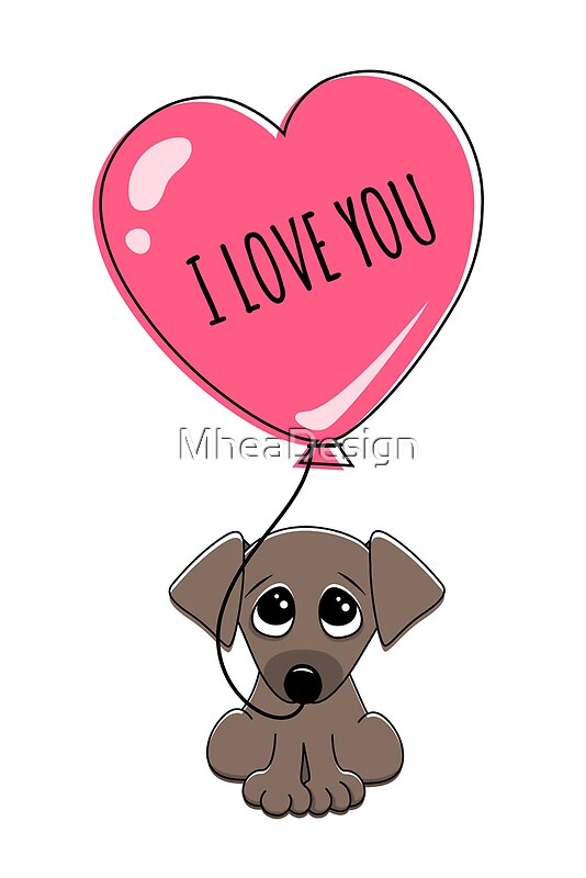Cute puppy dog holding heart balloon with text I love you ...