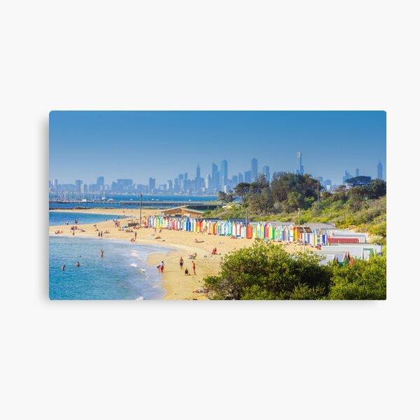 Brighton Bath Huts and the Melbourne Skyline Canvas Print