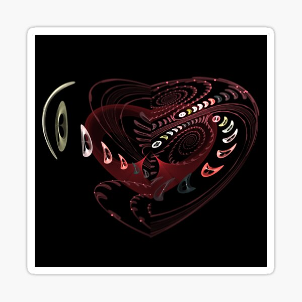 Button Up Your Heart Fractal Heart and Spiral Sticker