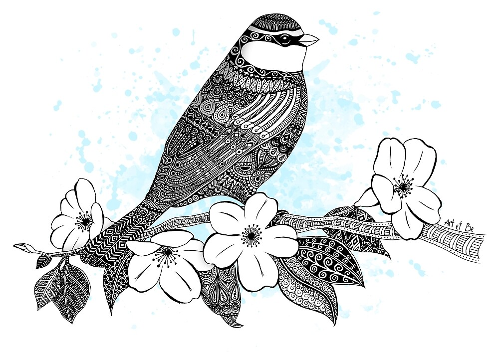 Bird on cherry blossoms by artetbe