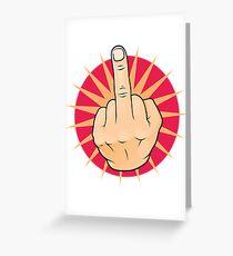 Vintage Pop Art Middle Finger Up Gesture. Greeting Card