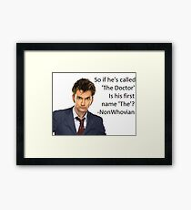 Non-Whovian Question Framed Print