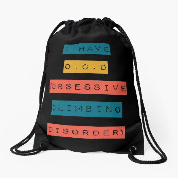 Retro O. C. D Rock climbing design Drawstring Bag