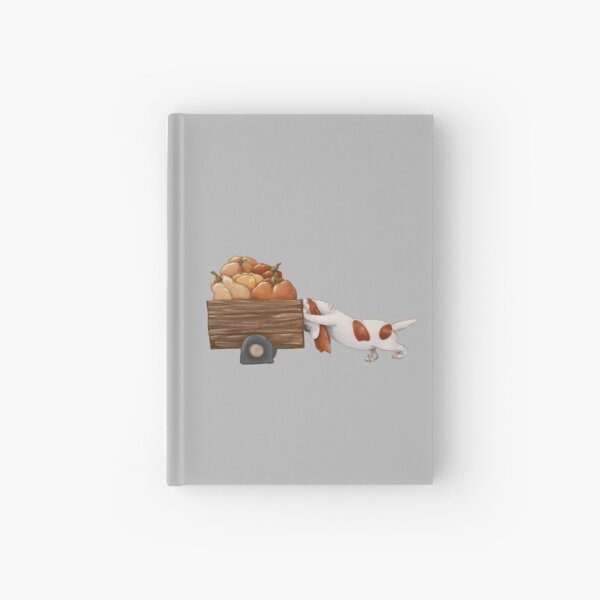 Basset hound pushing a cart with yellow pumpkins. Autumn harvest. Hardcover Journal