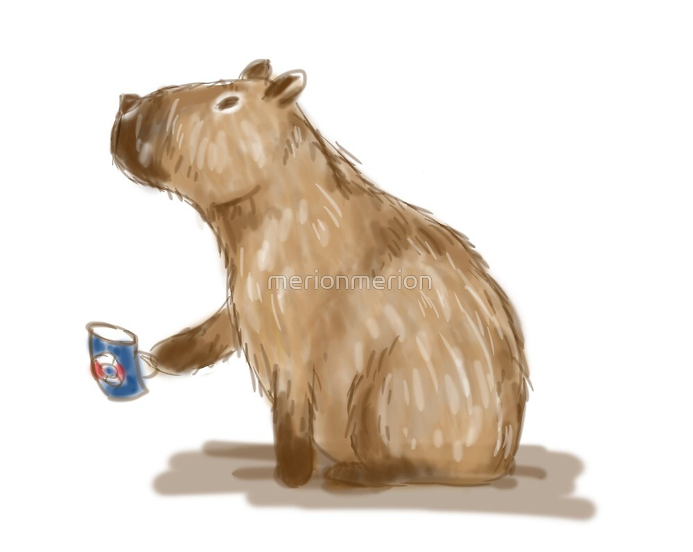 Capybara with a cup of tea by merionmerion
