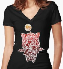 Final Fantasy Moogle-verse (red) Women's Fitted V-Neck T-Shirt