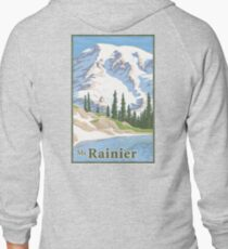 Vintage Mount Rainier Travel Poster Zipped Hoodie