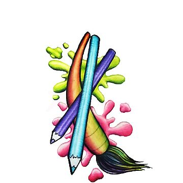 Paint Brush Colored Pencil Paint Splatter by chelsiemarie