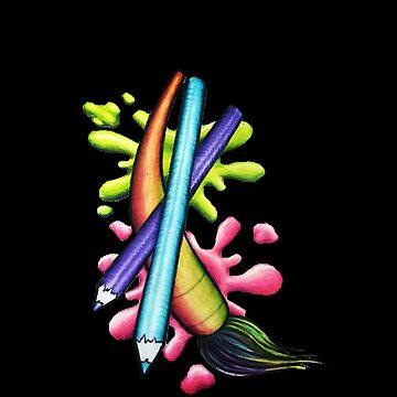Paint Brush Colored Pencil Paint Splatter Black by chelsiemarie