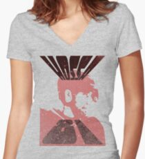 Hossa Distressed Women's Fitted V-Neck T-Shirt