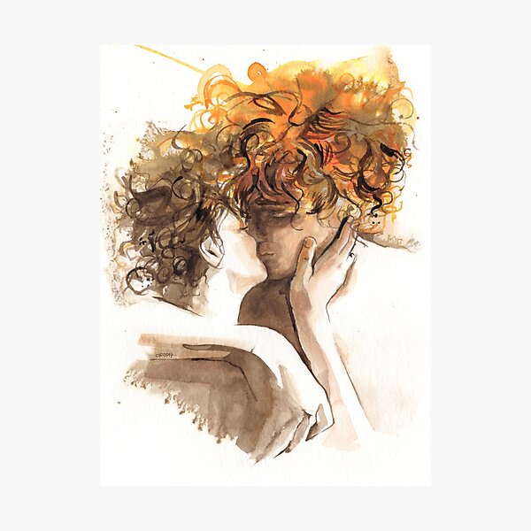Watercolor the kiss - Red hair tangled - Couple kissing - Outlander Lovers - hug - love - sexy reddish brown orange tones - lovers Photographic Print