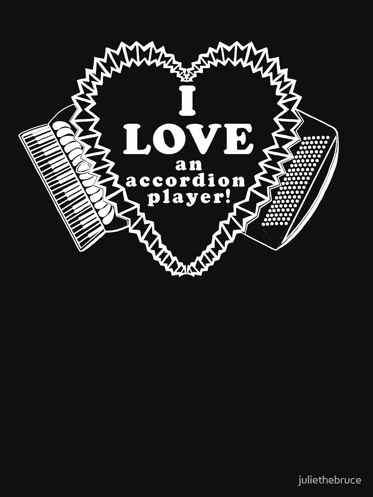 White I Love an Accordion Player Heart Motif! by juliethebruce