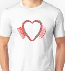 Flowered Accordion Bellows Heart  Red Outline Unisex T-Shirt