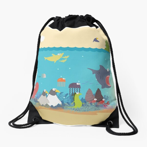 What's going on at the sea? Kids collection Drawstring Bag