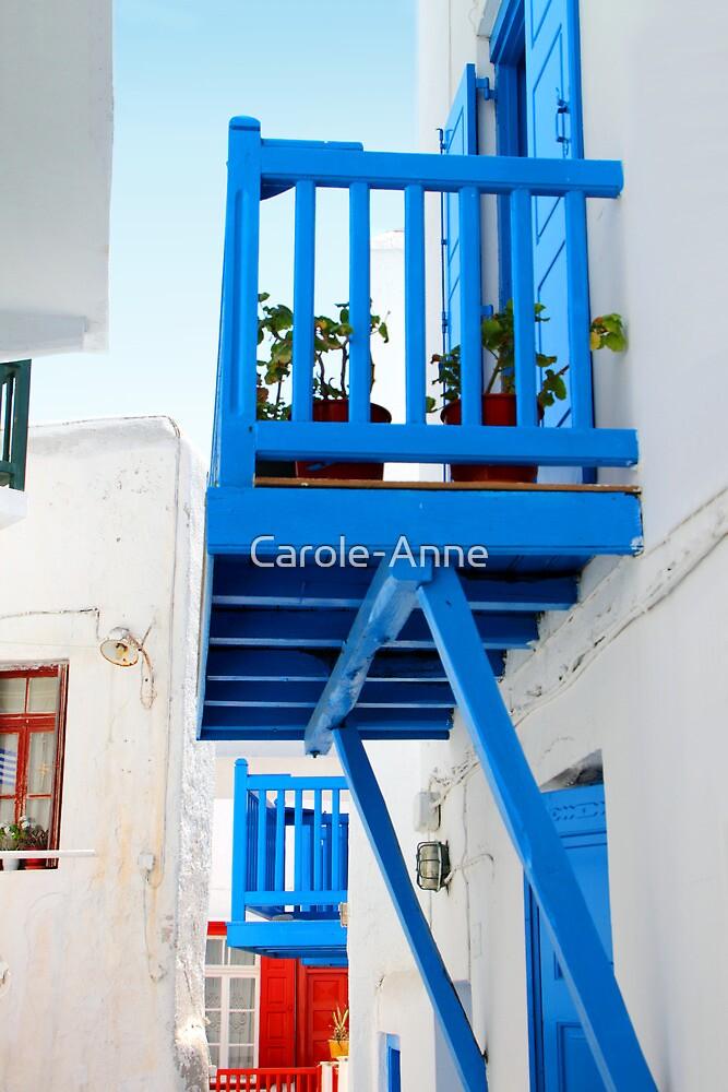 A Blue Balcony, Mykonos by Carole-Anne