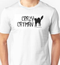 Crazy Cat Man Design 2 - Black Text Unisex T-Shirt