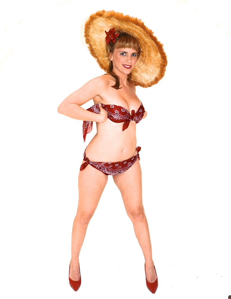 Pin up girl with a straw hat by jvoweaver