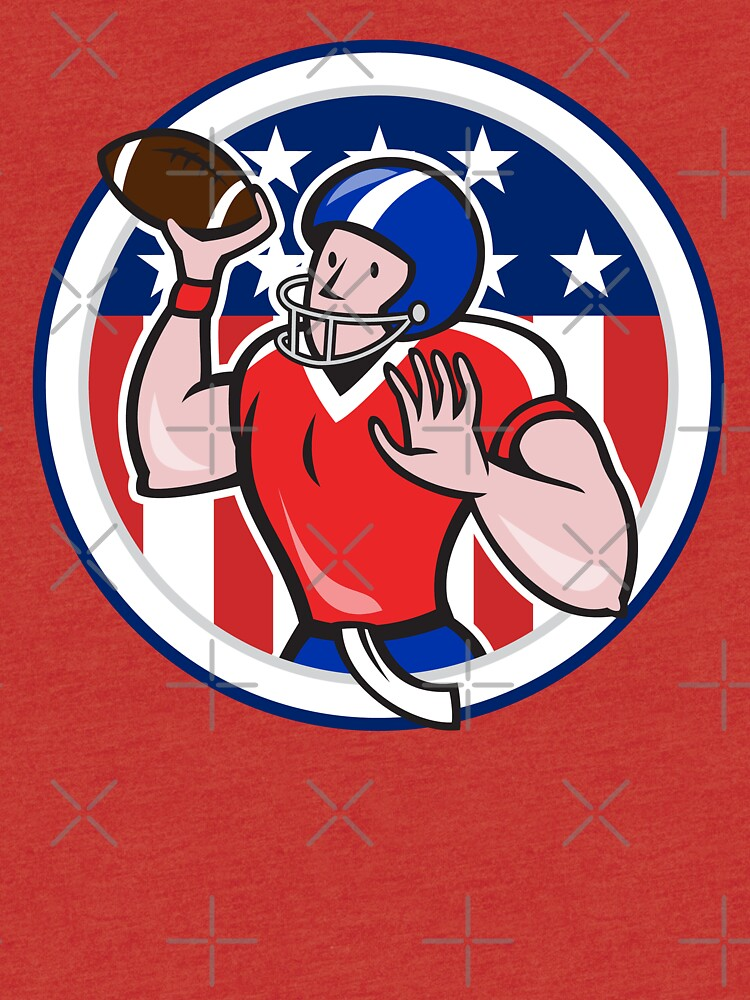Football Quarterback Throwing Circle Cartoon by patrimonio