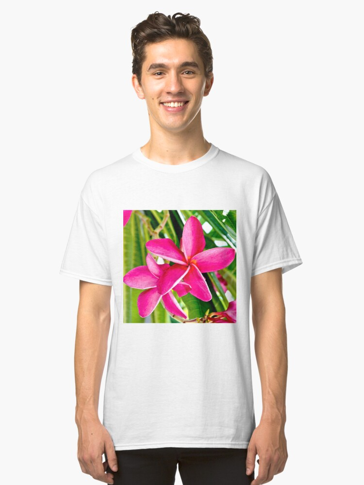 Tropical Pink Plumeria Flower Blooms Classic T-Shirt Front