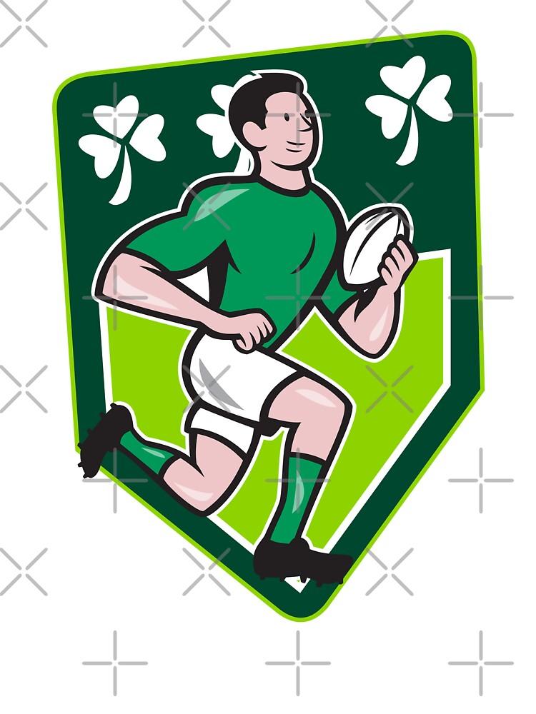 Irish Rugby Player Running Ball Shield Cartoon by patrimonio