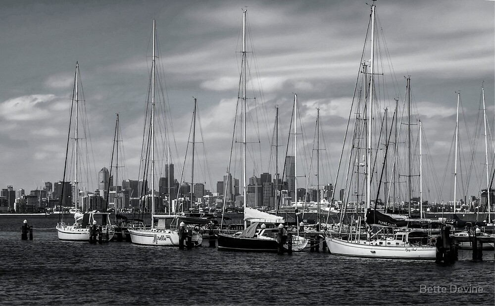 Moored Yachts Mono. by Bette Devine
