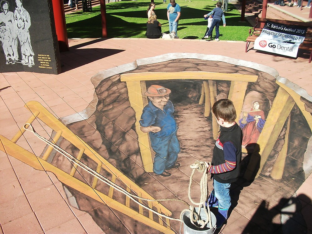 Broken Hill chalk art by Jenny McCraken by Heather Dart