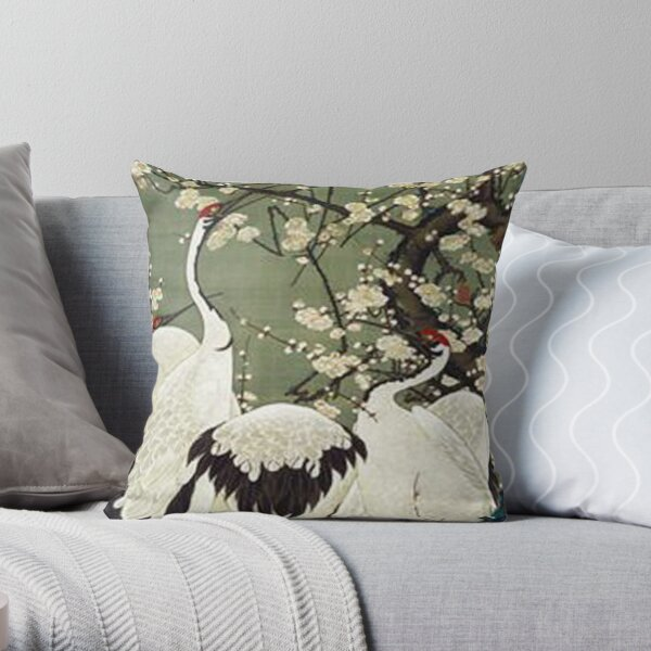 Favourite Artist - Plum Blossom and Cranes - Jakuchu Ito Throw Pillow