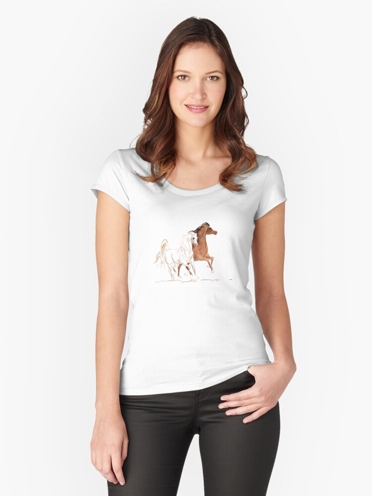 Arabian Horses - Bay and Grey Women's Fitted Scoop T-Shirt Front
